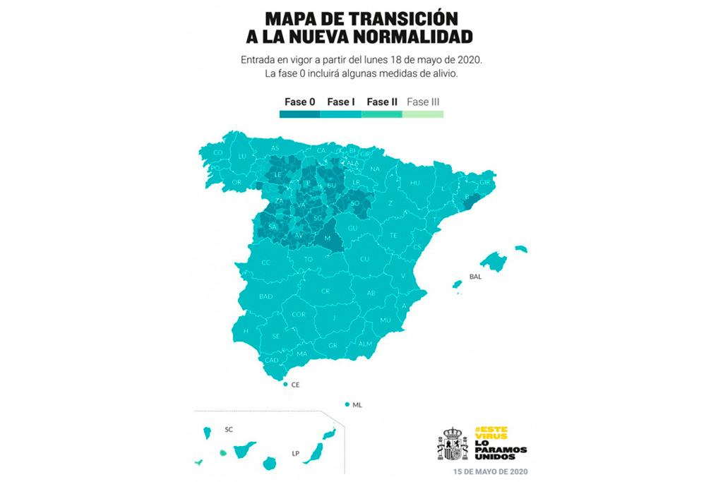 Mapa de fases de la desescalada del Ministerio de Sanidad
